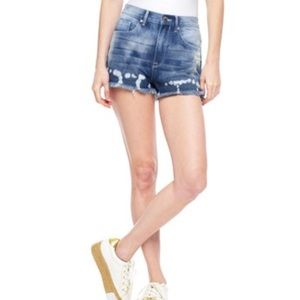 JUICY COUTURE bleached dark mid rise jean shorts